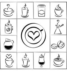 Set of freehand doodle sketch coffee icons vector