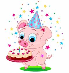Birthday pig vector