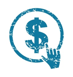 Grunge click on dollar icon vector