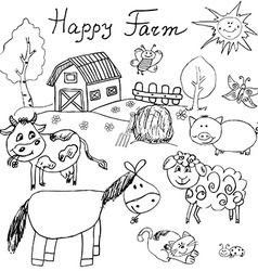 Happy farm doodles icons set hand drawn sketch vector