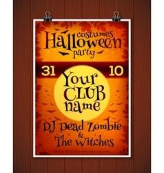 Bright orange halloween costume party poster vector