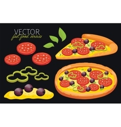 Isolated pepperoni pizza fast food set vector