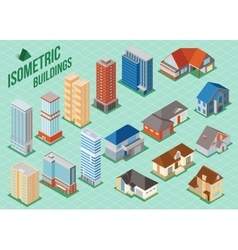 Set of 3d isometric private houses and tall vector