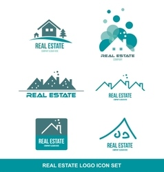 Green real estate logo icon set vector