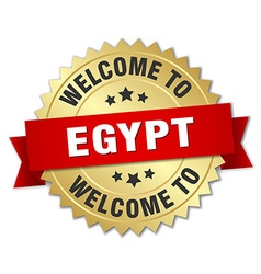 Egypt 3d gold badge with red ribbon vector