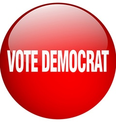 Vote democrat red round gel isolated push button vector