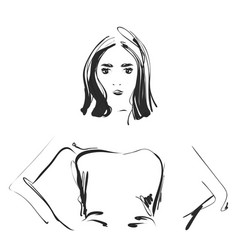 a sketch of a young woman fashion portrait vector image