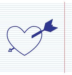 Arrow heart sign navy line icon on vector