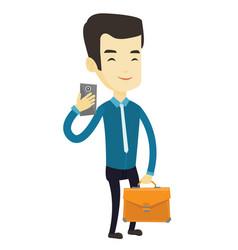 Business man making selfie vector