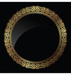 Circular gold frame vector
