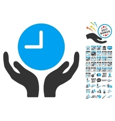 Clock care hands icon with 2017 year bonus vector