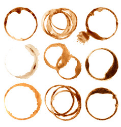Coffe stains and splashes dirty brown cup rings vector