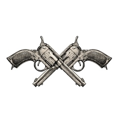 Crossed revolvers vintage guns hand-drawn gun vector