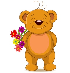 cute brown bear with flowers vector image vector image