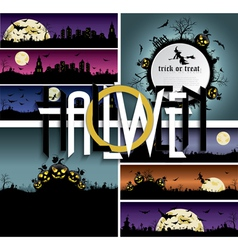 et of Halloween backgrounds banners with art text vector image