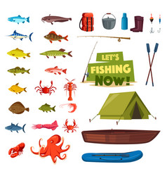 Fishing sport icon with fish boat rod tackle vector
