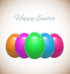 Five easter eggs isolated on white set vector