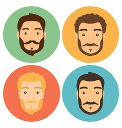 Flat Man with Beard Hipster Icons Set vector image