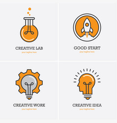 four icons with human head rocket and light bulb vector image