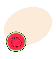 Half of ripe watermelon top view sketch style vector