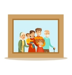 Happy family having good time together framed vector