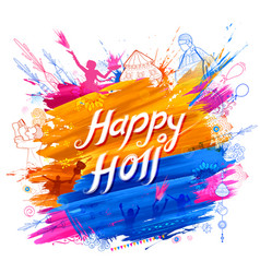 Happy holi background for festival of colors vector
