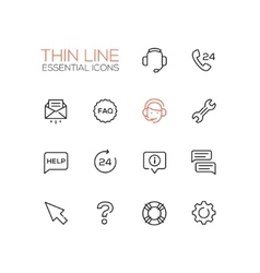 Help Center - Thin Single Line Icons Set vector image vector image