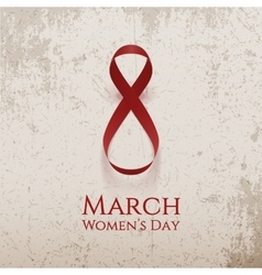 March 8 womens day curved ribbon as eight number vector
