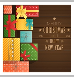 Merry Christmas and Happy New Year greeting card 6 vector image vector image