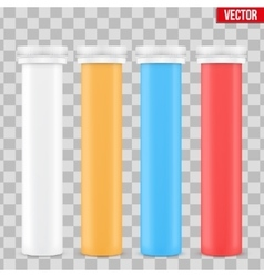 Mockup vitamin plastic bottle container vector