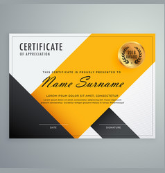 Modern yellow and black certificate design vector