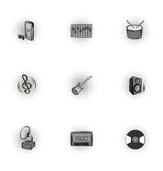 Musical device icons set pop-art style vector image vector image