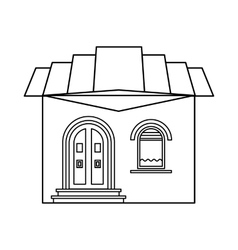 One storey house with roof icon outline style vector