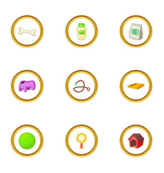 pet care icons set cartoon style vector image vector image