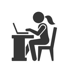 Pictogram businesswoman working on computer vector