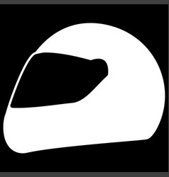 racing helmet the white color icon vector image vector image