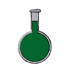 Round chemical flask laboratory glassware vector