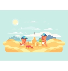Sand castle on beach vector