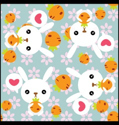 Seamless background with cute rabbits vector image