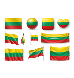 set lithuania flags banners banners symbols vector image vector image