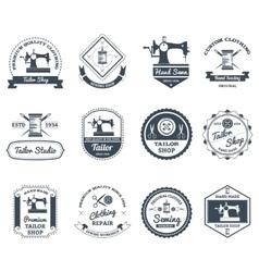 Tailor shop black labels icons set vector