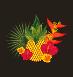 Tropical flowers black background vector