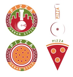 urban style pizza labels and elements set vector image vector image
