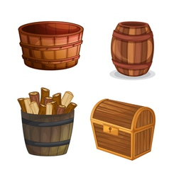 various wooden objects vector image vector image