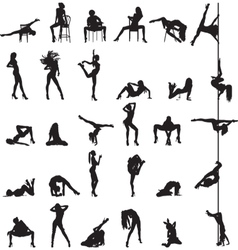 Silhouettes of dancing girls vector image