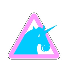 Warning sign of attention unicorn dangers of vector