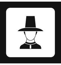 Asian man in hat icon simple style vector