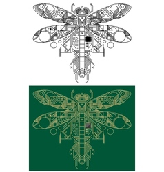Dragonfly with computer motherboard elements vector