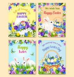 Easter paschal eggs bunny greeting cards vector