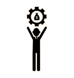 Silhouette executive man holding a gear wheel vector